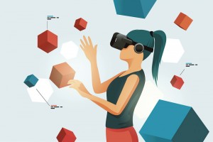 A young women moving objects around using a virtual reality VR headset. People vector illustration.